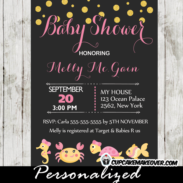 printable under the sea creatures baby shower invite gold glitter