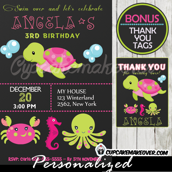pink green under the sea creatures party invitation girls printable