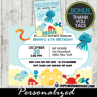 ocean life under the sea birthday invitations printable boys