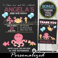 under the sea creatures birthday party invitations printable girl