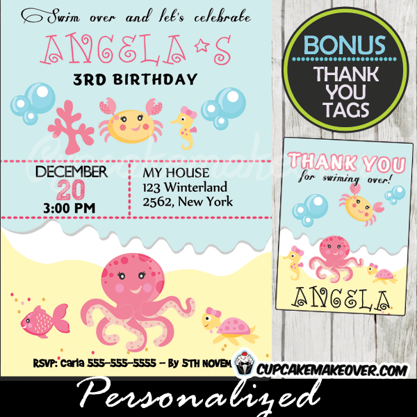 Under The Sea Girl Birthday Invitation Personalized D2