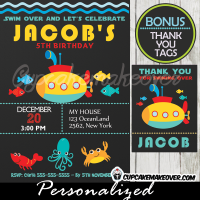 printable under the sea submarine birthday party invitation boys