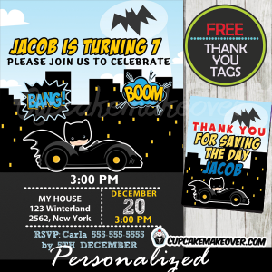 batman birthday invitations for boys printable