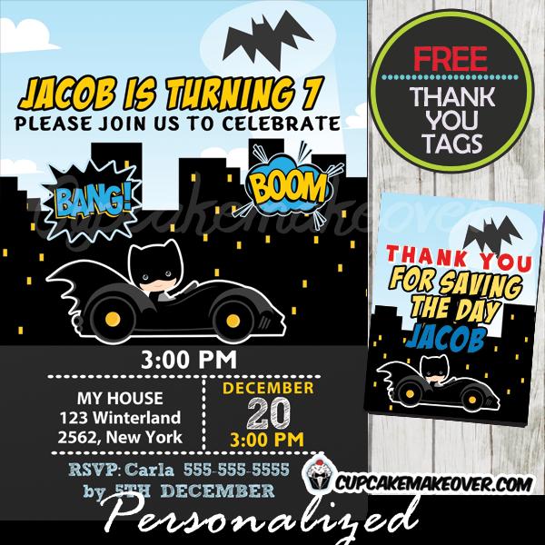 batman birthday invitations for boys printable