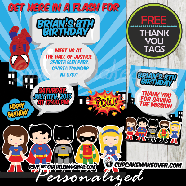 comic book superheroes birthday party invitation printable