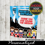 printable superhero thank you cards party favor tags