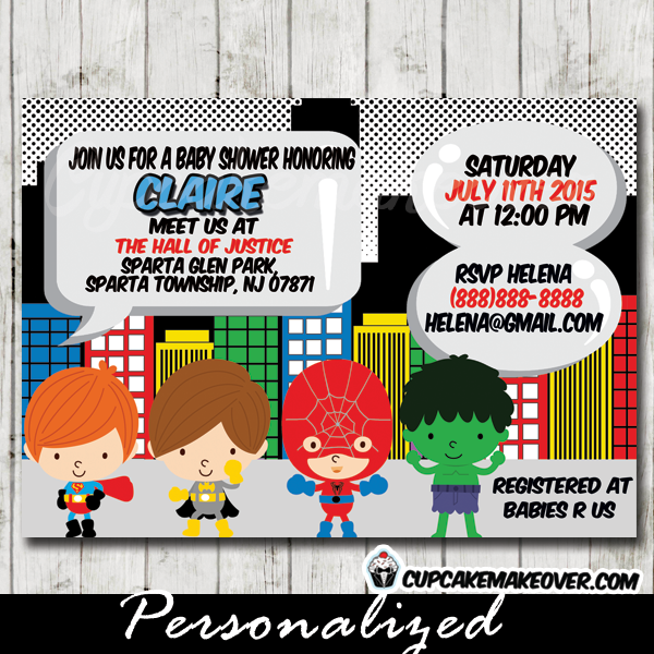 printable baby shower superhero invitations boys