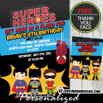 printable comic superhero birthday invitations for kids