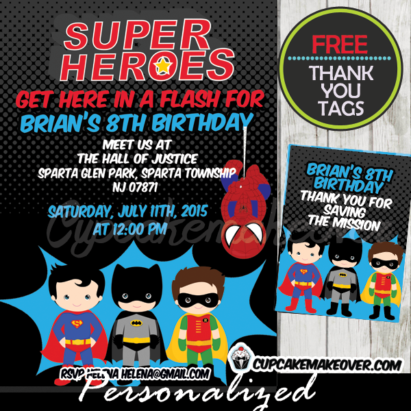 Well known Comic Superhero Boys Birthday Party Invitation, Personalized - D6  JT53
