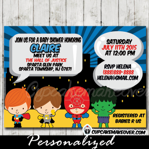 blue printable superhero boys baby shower invitations