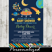 stars planets space themed baby shower invitations