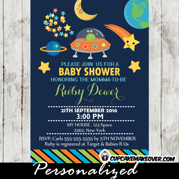 Outer space themed baby shower invitation personalized d2 stars planets space themed baby shower invitations filmwisefo Gallery