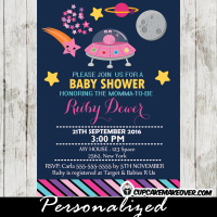 outer space baby shower invitations girls pink stars planets