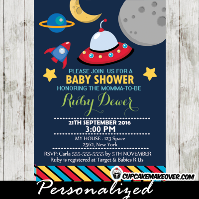 rocket ship baby shower invitations boy space