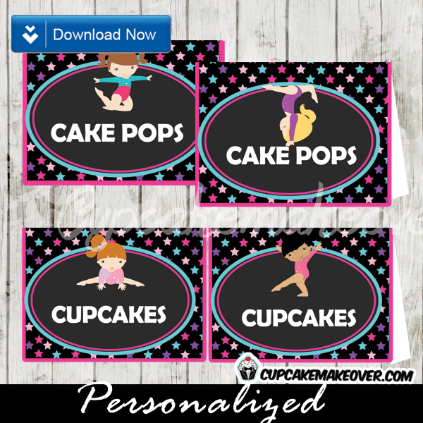 Gymnastics Food Labels Cards, Buffet Placecards