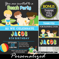 printable beach themed birthday invitation boys