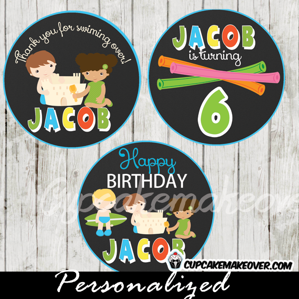 blue green beach themed party cake or cupcake toppers