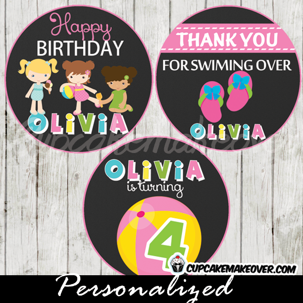 pink beach themed party cake or cupcake toppers