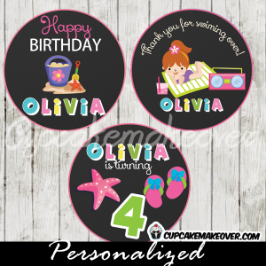 printable summer beach pool party birthday cake toppers tags girls