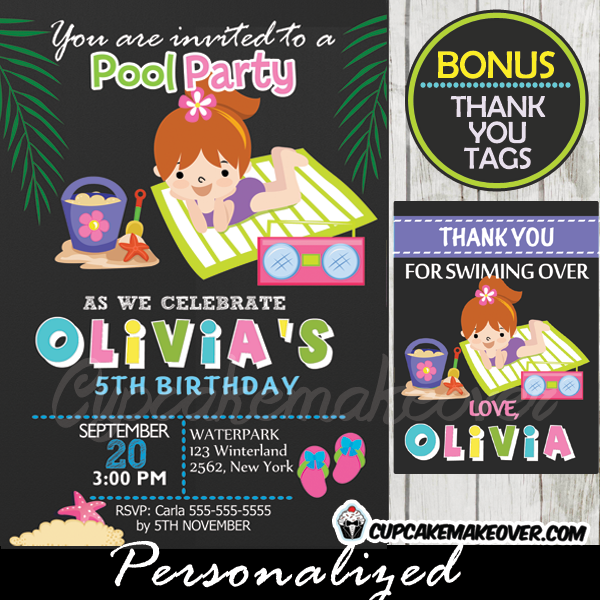 printable beach girl birthday party invitation
