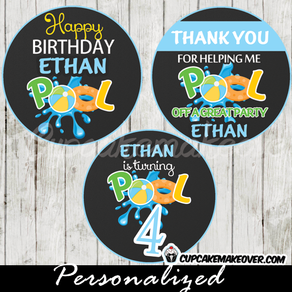 Pool Party Cupcake Toppers Boys, Personalized Favor Tags