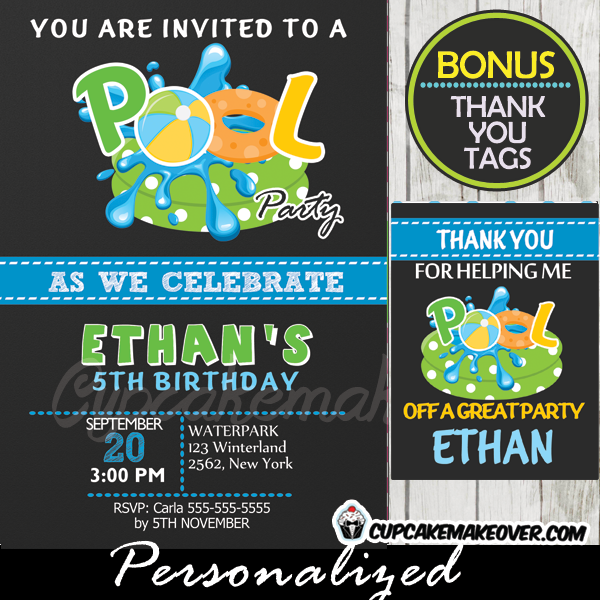pool party birthday invitation for boys chalkboard personalized