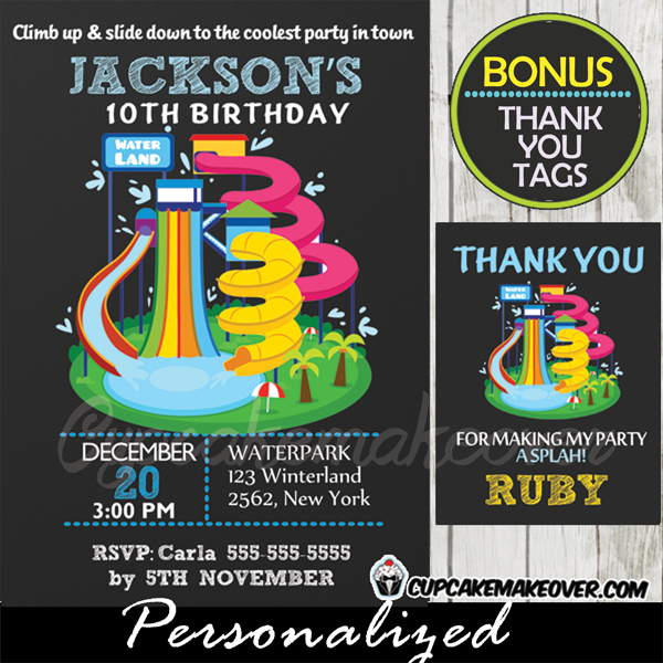 Water Park Birthday Invitation Personalized