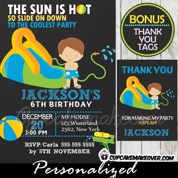 Water Slide Party Birthday Invitation For Boys Personalized D1
