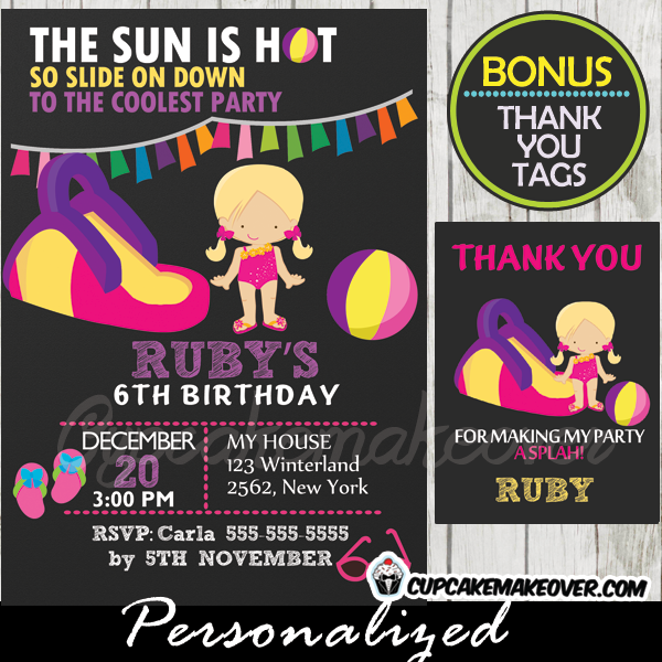pink purple water slide birthday invitation girl printable