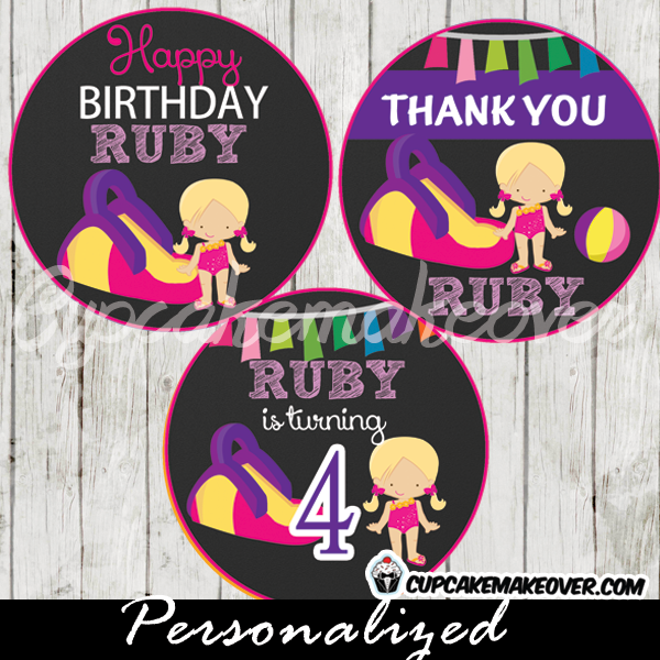 pink purple girl water slide cupcake toppers tags