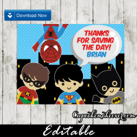 superheroes kids gift tag thank you label