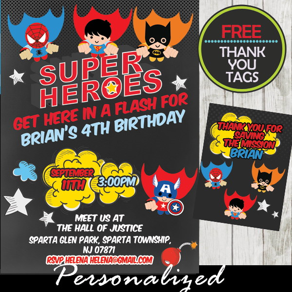 flying superheroes comic birthday invitation personalized
