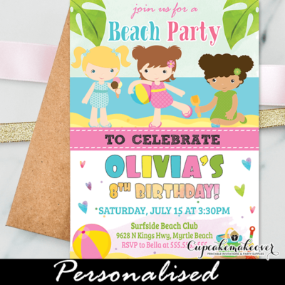 beach themed birthday party invitations girl printable