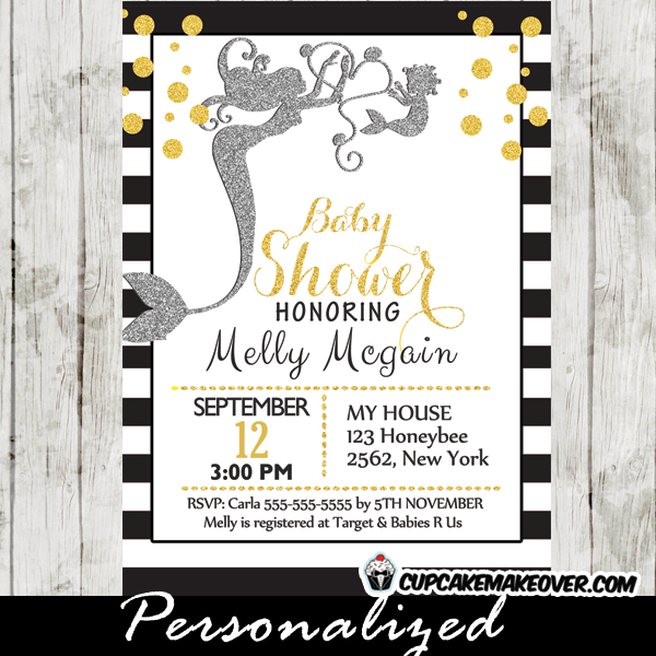 elegant modern mermaid baby shower invites gold sprinkles silver glitter