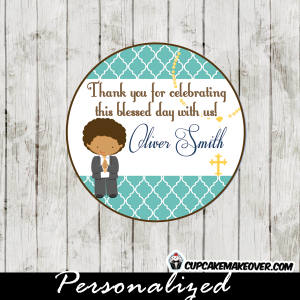 Moroccan blue patterned first holy communion favor tags for boys