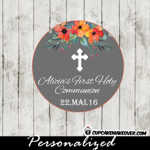 girls orange floral first communion favor tags
