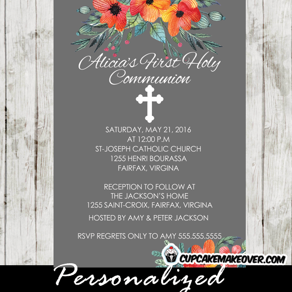 orange blossom floral first holy communion invitations for girls