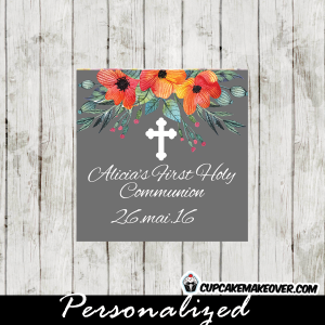 orange blossom floral first communion gift labels