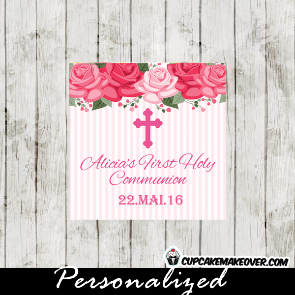 girl pink roses floral first holy communion gift labels