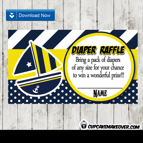 yellow blue nautical baby shower diaper raffle cards