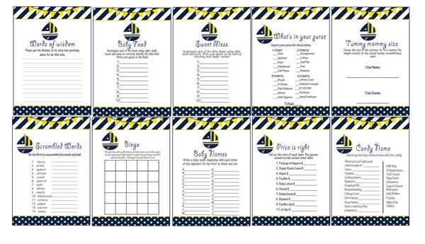 Superior Yellow Navy Nautical Sail Boat Baby Shower Games Printable