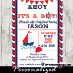 red navy blue nautical sailboat baby shower invitation printable