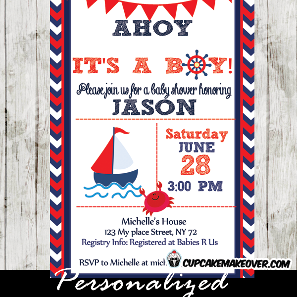 image about Nautical Baby Shower Invitations Printable known as Crimson and Blue Nautical Little one Shower Invitation - Custom made