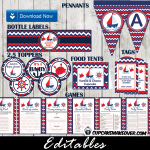 red blue nautical baby shower supplies package