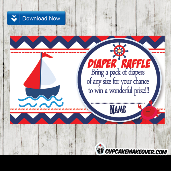 navy blue and red nautical diaper raffle tickets