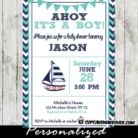 turquoise navy blue nautical sailboat baby shower invitation printable