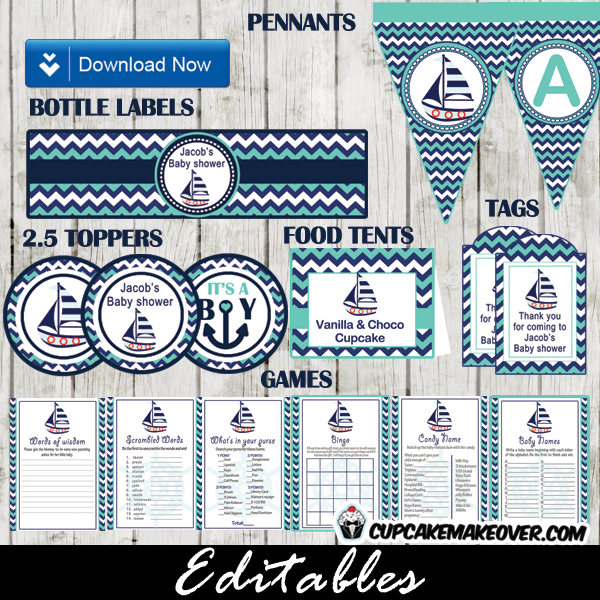 turquoise navy blue nautical baby shower supplies package