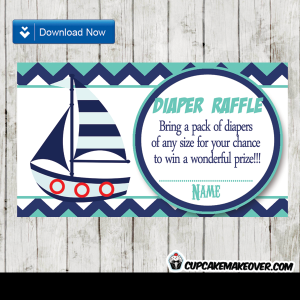 navy blue and turquoise nautical diaper raffle tickets