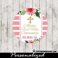 girls pink roses stripes first holy communion favor tags