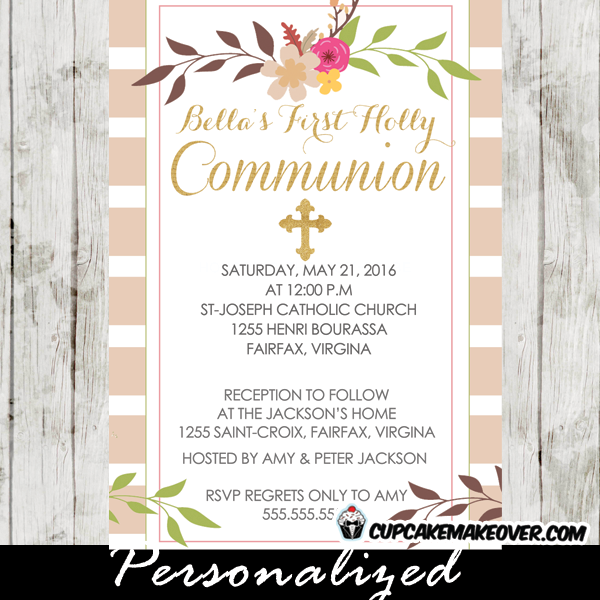 Beige Stripes Floral First Communion Invitation Personalized D13